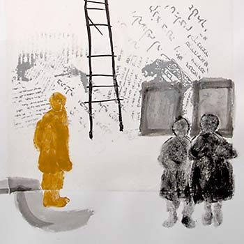 Three children near the base of a ladder, with Hewish text in the background.