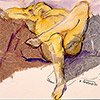 Reclining nude with legs bent and crossed.