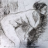 Nude woman bending forward to her left.